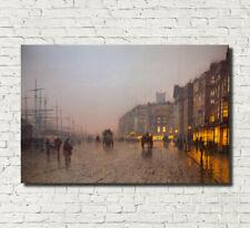 "Glasgow Docks Print Nightscape Cityscape Grimshaw Nocturne Painting 16x24"""