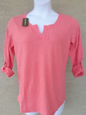 NWT Eddie Bauer 3/4 button tab sleeve cotton slub top /blouse L  coral Msrp $40.