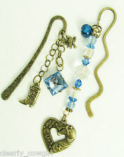 #6533 - WESTERN BOOT HORSE HEART CHARM BLUE BEADED BRONZE BOOKMARK SET