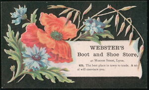 Webster's Boot & Shoe Store Red Poppy Flower Vtg Victorian Trade Card Lynn MA