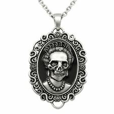 Skull Queen Cameo Pendant Necklace Stainless Steel Gothic Jewelry By Controse