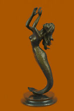 Signed Roche Mermaid Statue Figurine Bronze Sculpture Figure Hand Made Figurine