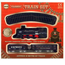 AZ 2m Small Express CLASSIC TOY TRAIN SET TRACK CARRIAGES LIGHT&SOUND Tree 1576