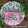 * BINGO QUEEN Ornament / Mini Wood Sign Gift Bingo Player Party Favor New in Pkg
