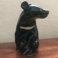 Vintage Lomonosov USSR Russian Black Asian Bear Porcelain Figurine Rare Signed