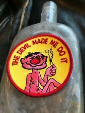 Vintage Marijuana Devil Made Me Do It Patch Hippie Weed Skateboard Badge