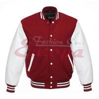 S Regular Fashion Club Mens Varsity Real Leather Sleeves//Wool Letterman Jacket W//Hood All Black New