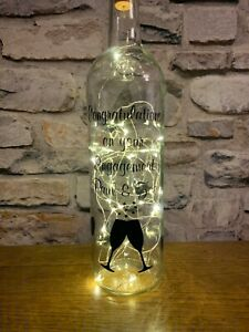 Personalised Engagement Light Up Wine Bottle Love Hearts Any Names