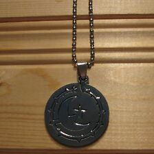 Moon stainless steel biker pendant & necklace