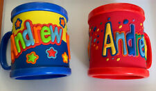2 Customized Andrew Name Kids Cups Toddlers Plastic Blue Red