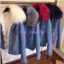 Fashion Loose Coat Jacket Warm Women Denim Fur Fox Collar Lining Overcoat SZ