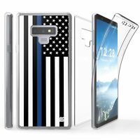For Galaxy Note 9 Tri Max 360 Full Body Screen Protector Case THIN BLUE LINE