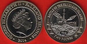 "Falkland Islands 2 pounds 2014 ""Battle of the Falkland Islands"" BiMetallic UNC"