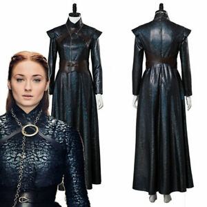 2019 Game of thrones Season 8 Cosplay Sansa Stark Costume Dress Outfit Full Set