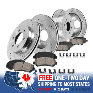 Front+Rear Drill Slot Brake Rotors and Ceramic Pads For 2012 - 2018 Ford F-150