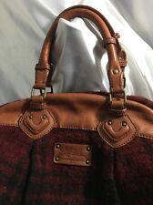 LL Bean Buffalo Plaid Red & Leather Bag Purse Satchel Vintage Rare!!