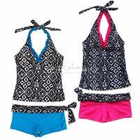 Girls 2 Piece Halter Tankini Bikini Set Swimwear Swimsuit Bathing Suit 7-16Yrs