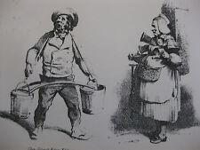 Lithographie ancienne originale Bellangé costumes romantisme Porteur d'eau