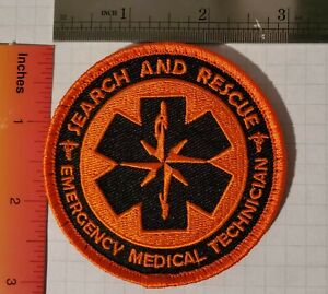 """SAR Search and Rescue EMT Patch with 'Hook Fastener' Backing 3""""x3"""""""
