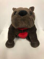 Dan Dee 12� Sitting Brown Bulldog w/ Heart Collar, Plush Toy Stuffed Animal