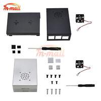 Raspberry Pi 4 Enclosure Black Sliver Box Aluminum Alloy Silver Case Cooling Fan