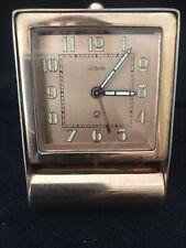 Vintage LeCoultre Travel Alarm Clock. Swiss Made. Copper FinIsh,Folding.