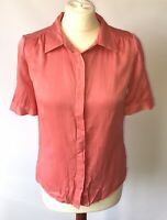Pure Collection Blouse Pink 100% Pure Silk Buttons Shirt Short Sleeve Mark 10