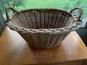 Vtg Wicker Bushel Market Basket With Handles 14x10x6 Sturdy Exc Cond MCM