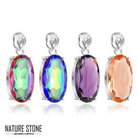 Rainbow Mystical Topaz Amethyst Morganite Gemstone Silver Necklace Pendant