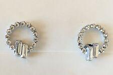 Vintage Earrings -  Beautiful Baguette Shaped Diamante screw-back Earrings