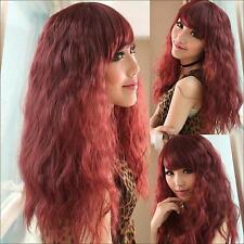 Ladies Auburn Red Long Wavy Permed Wig Party Lolita Cosplay Fashion