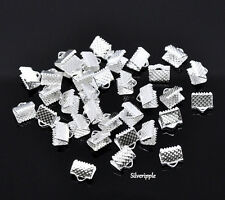 20 x TEXTURED END CAPS CLAMPS  8mm for KUMIHIMO & RIBBON   SILVER PLATED