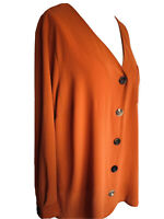 Evans Orange V-Neck Blouse Button Up Boho Pocket Relaxed Fit Tunic Plus Size 22