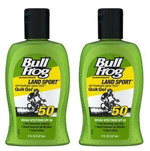Bull Frog Sunscreen Land Sport Quik Gel (SPF 50) 5 oz. EXP 3/22 - Lot of 2 NEW