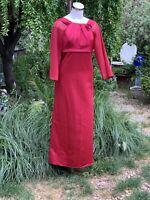 ALFRED ANGELO 7070 Lipstick Satin Formal Bridesmaid Dress Sheer Sleeves Sz 14