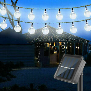 Outdoor 36ft 60 LED Solar String Ball Lights Waterproof Cold White Garden Decor