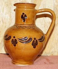 Vase Keramik braun Mostkrug Shabby Blumenmotiv urig Landhaus  (1506DE1-PG2)