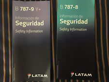 LATAM Airlines Boeing 787 Dreamliner Safety Cards RARE 2 CARDS