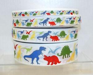 Dinosaur Printed Grosgrain Ribbon 10/16/22/38mm 1m 2m 5m lengths Multicolour