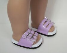 """Orchid Ez Close-Buckle Strap Sandals Doll Shoes For 18"""" American Girl (Debs)"""