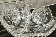 ANTIQUE AMERICAN ABP BRILLIANT CUT GLASS/CRYSTAL BOWL HOBSTAR SAW TOOTH PINWHEEL