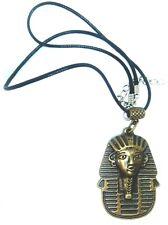 EGYPTIAN TUTANKHAMUN WAXED CORD NECKLACE MUMMY PYRAMIDS BRONZE ALLOY HIPSTER