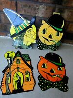 Vintage BEISTLE Set of HALLOWEEN Embossed Die Cut Jack O'Lantern, Witch, House