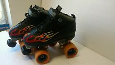 Rock Speed Freaks Roller Skates Quads Black Red Embroidered Flames Youth Size 5