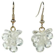 Boucles d'oreilles plaqué or rose gold grappe cristal swarovski transparente