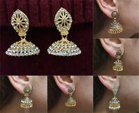 Indian Earrings Jewellery Gold Plated Jhumka Jhumki Diamante Dangle Vintage