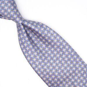 Josiah France Mens Silk Necktie Gray Blue Star Check Print Tie Made in Italy