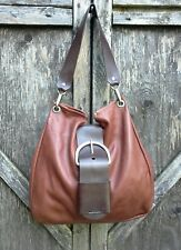 Dean Belt Hobo Bag Brown Soft Leather Slouchy Chunky Hardware MSRP $335