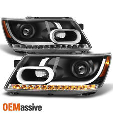 Fit 2009-2020 Dodge Journey Black DRL Light Tube LED Signal Projector Headlights