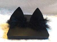 Handmade Black Cat Ears With Fur Baby Headbands Girl Newborn Elastic Band Infant